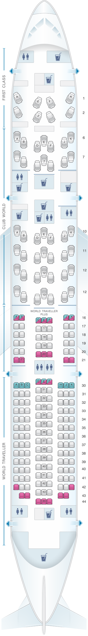 Seat map for British Airways Boeing B787 9