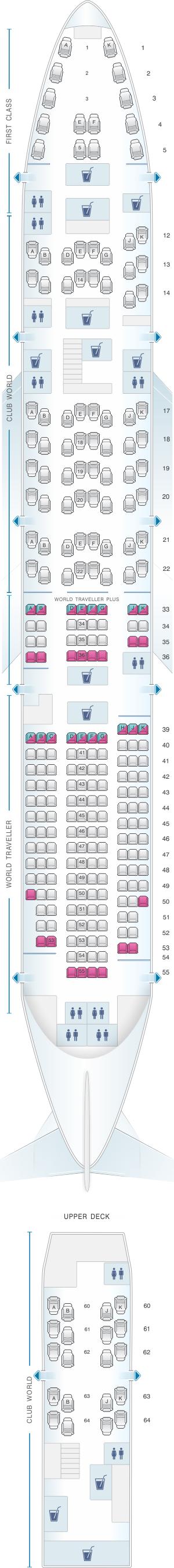 Seat map for British Airways Boeing B747 400 275PAX