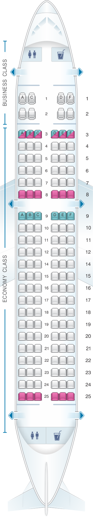 Seat map for Bulgaria Air Airbus A319