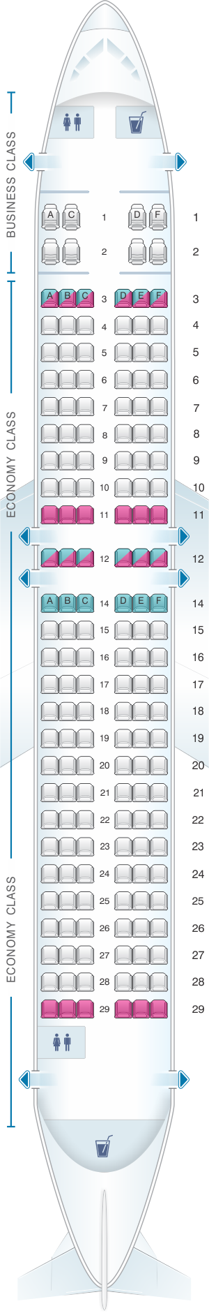 Seat map for Bulgaria Air Airbus A320 with business class