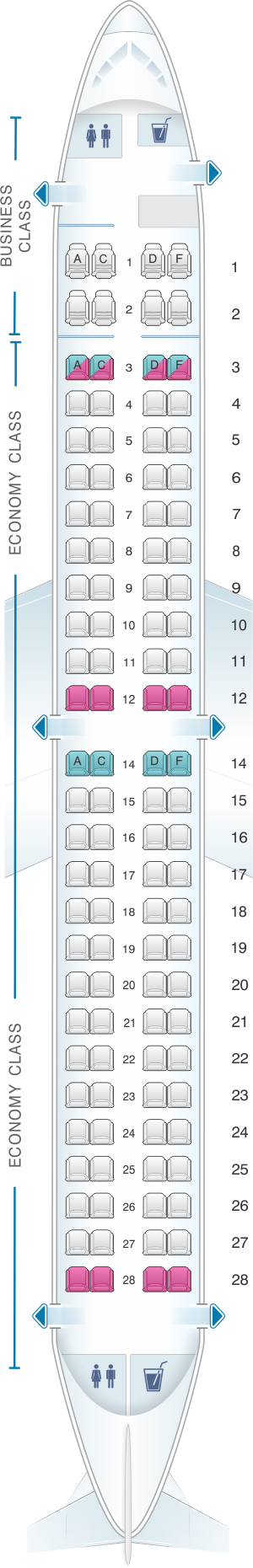 Seat map for Bulgaria Air Embraer 190