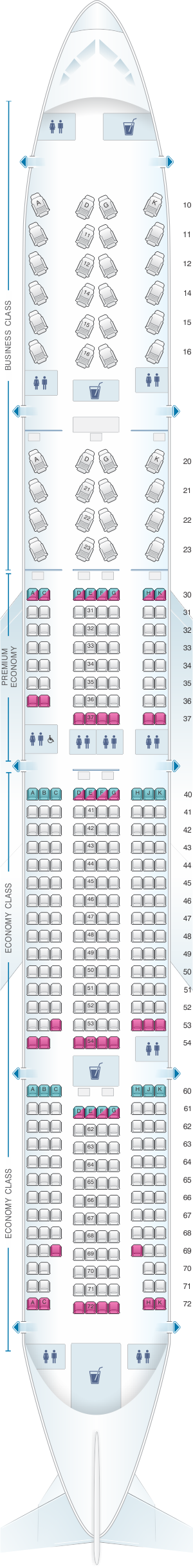 Seat map for China Airlines Boeing B777 300ER