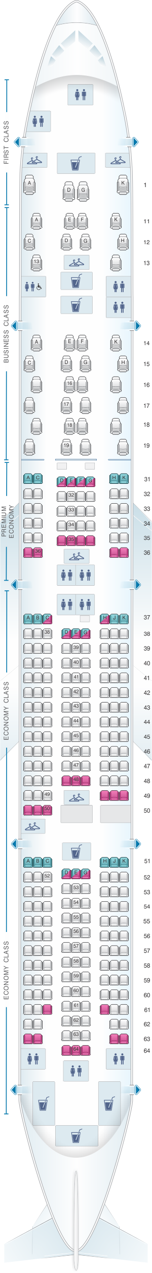 Seat map for China Southern Airlines Boeing B777 300ER