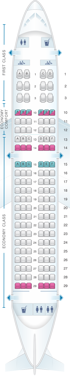 Seat map for Delta Air Lines Airbus A319 (31J)