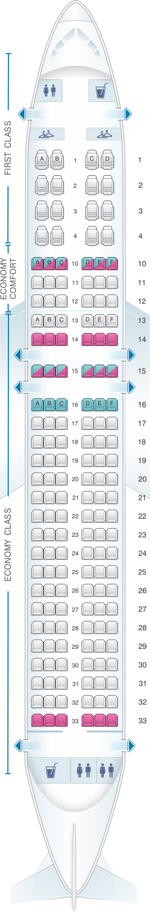 Seat map for Delta Air Lines Airbus A320 200 (32K)