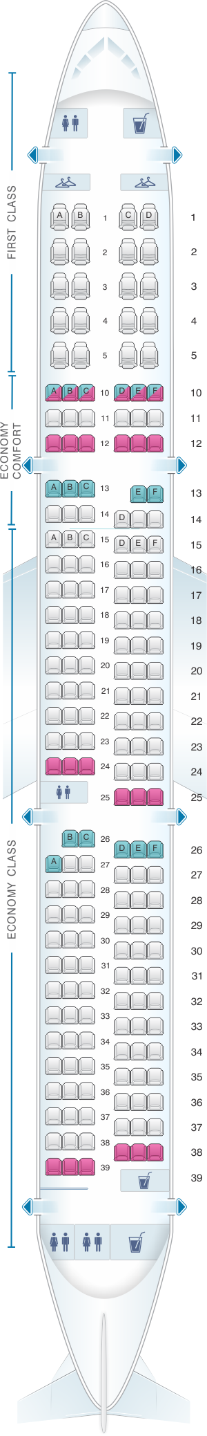 Seat map for Delta Air Lines Airbus A321