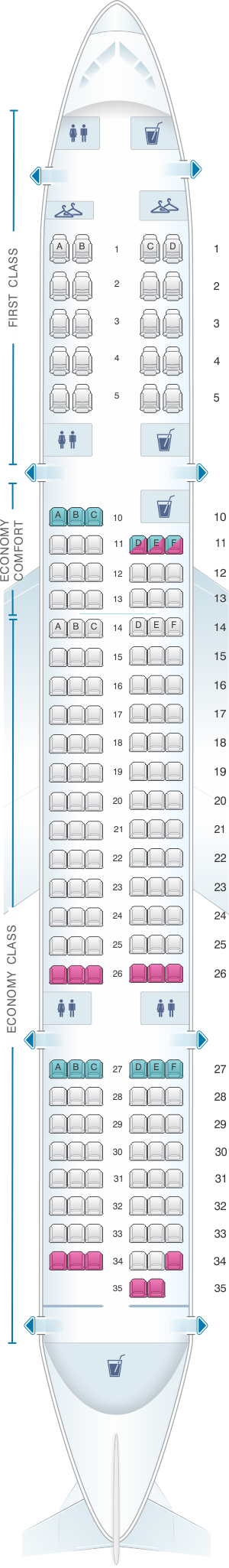 Seat map for Delta Air Lines Boeing B757 200 (75G)