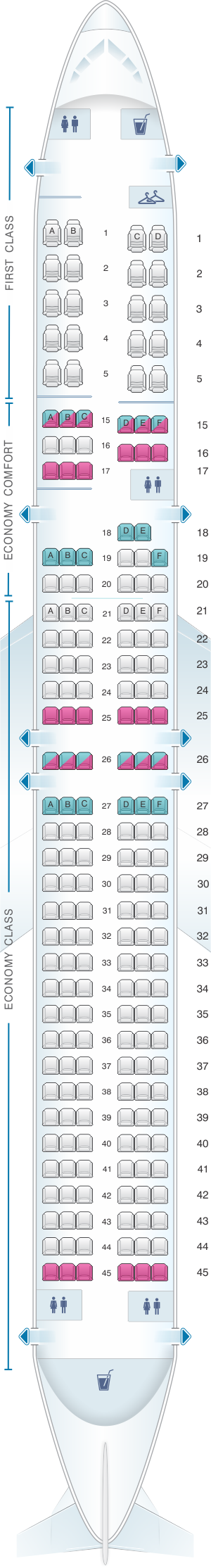 Seat map for Delta Air Lines Boeing B757 200 (75H)