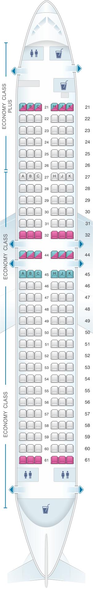 Seat map for El Al Israel Airlines Boeing B737 800 180pax