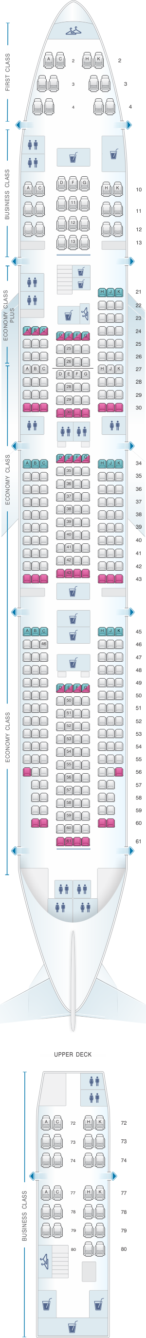 Seat map for El Al Israel Airlines Boeing B747 400 381pax