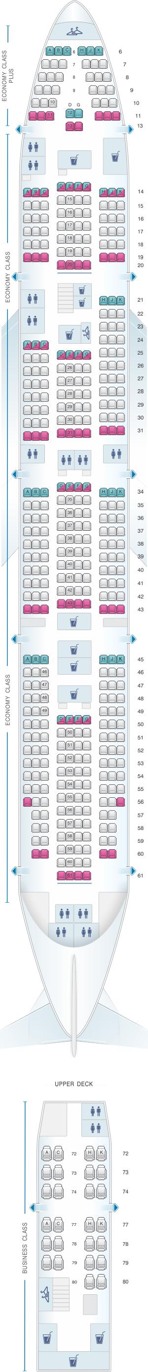 Seat map for El Al Israel Airlines Boeing B747 400 455pax