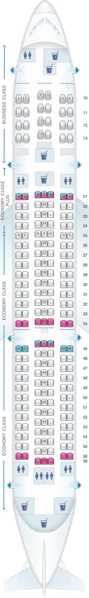 Seat map for El Al Israel Airlines Boeing B767 300ER 209pax