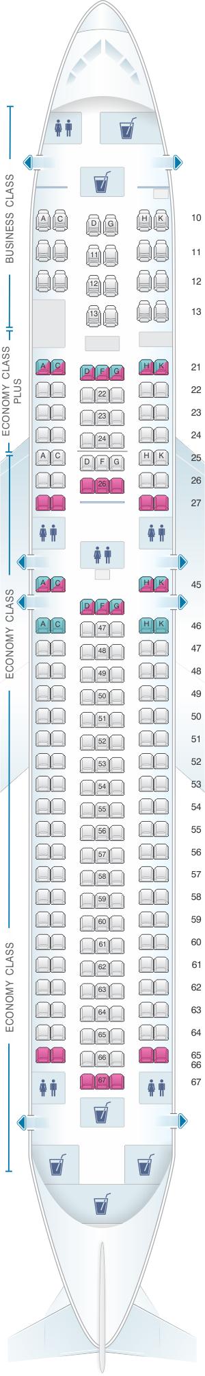 Seat map for El Al Israel Airlines Boeing B767 300ER 218pax