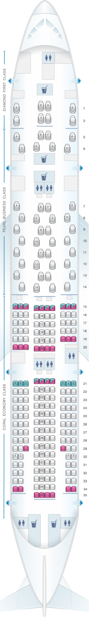 Seat map for Etihad Airways Boeing B777 200LR