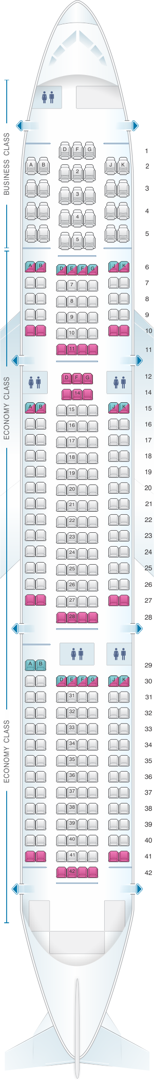 Seat map for Eurowings Boeing B767
