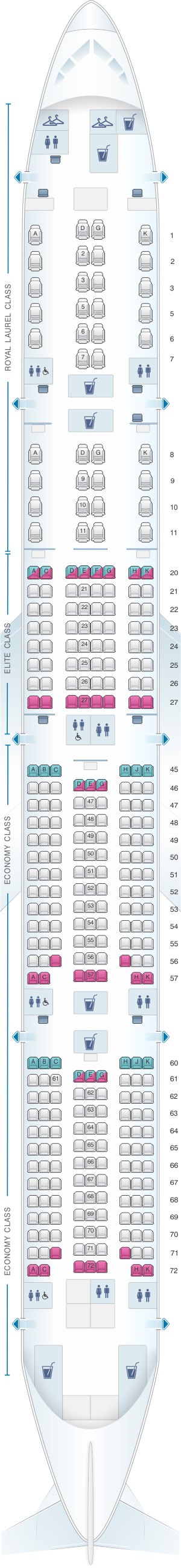 Seat map for EVA Air Boeing B777 300ER 323PAX