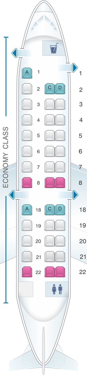 Seat Map Expressjet Airlines Embraer Erj135 V2 Seatmaestro