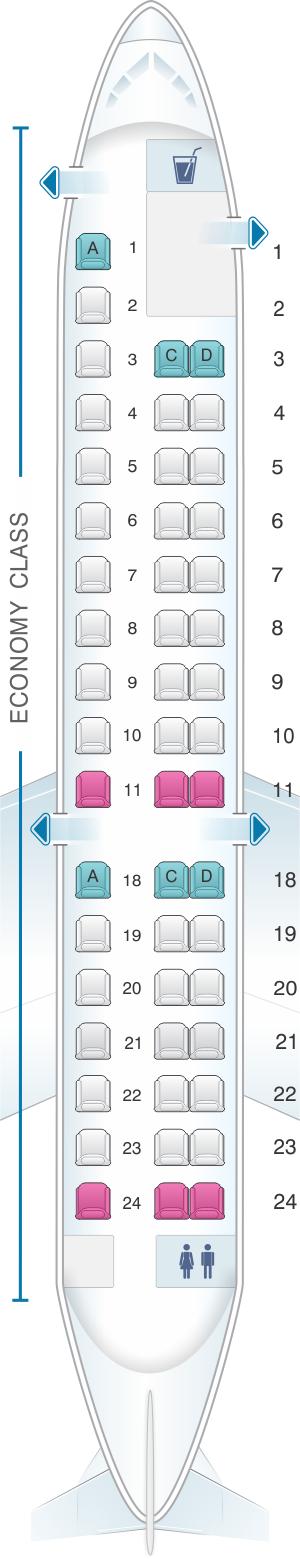 Seat map for ExpressJet Airlines Embraer ERJ145 v2