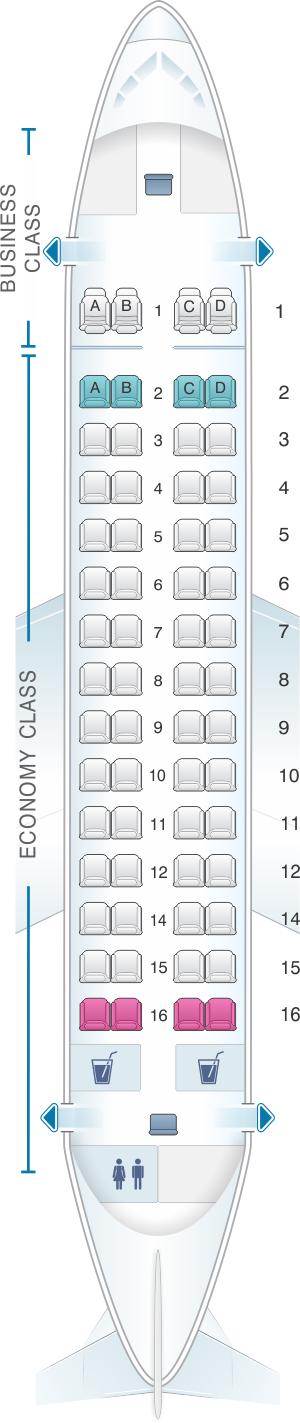 Seat map for Fiji Airways ATR 72 600