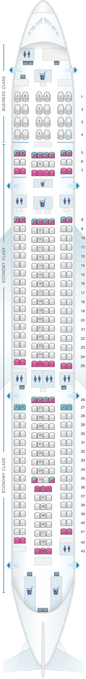 Seat map for Fiji Airways Airbus A330 300