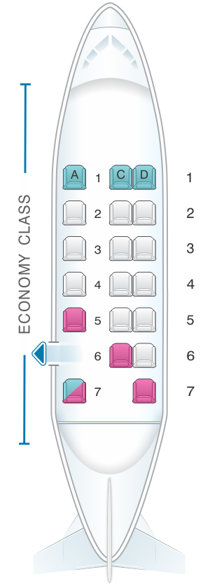 Seat map for Fiji Airways Twin Otters