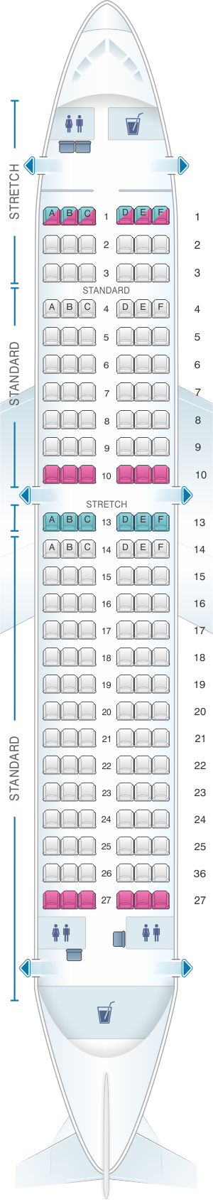 Seat map for Frontier Airlines Airbus A319 150pax