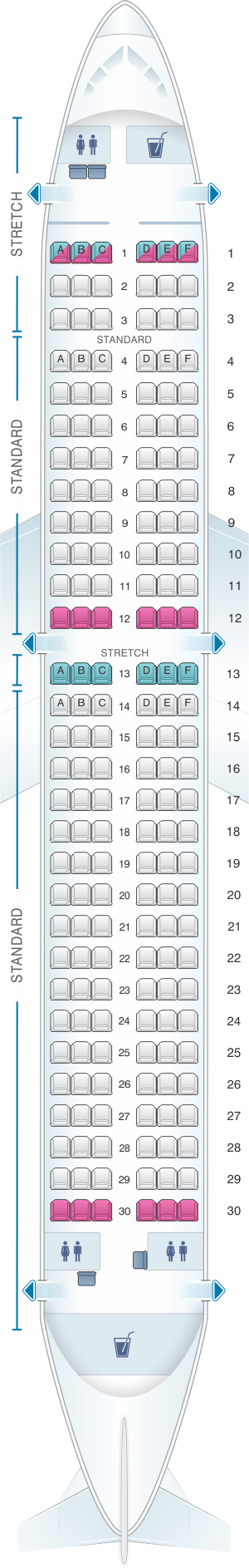 Seat map for Frontier Airlines Airbus A320 180pax