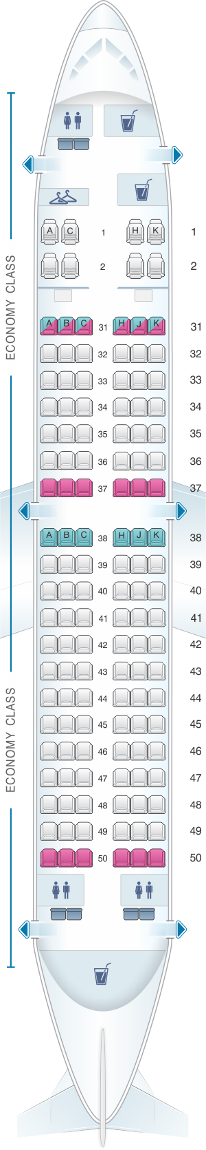 Seat map for Hainan Airlines Boeing B737 700HH