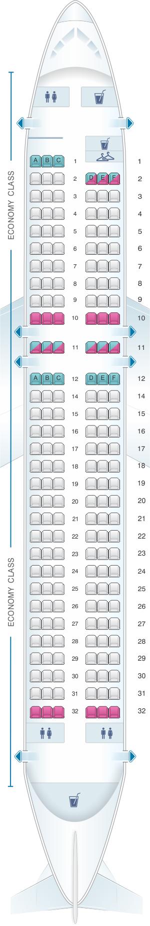 Seat Map Iberia Airbus A320 Express Seatmaestro