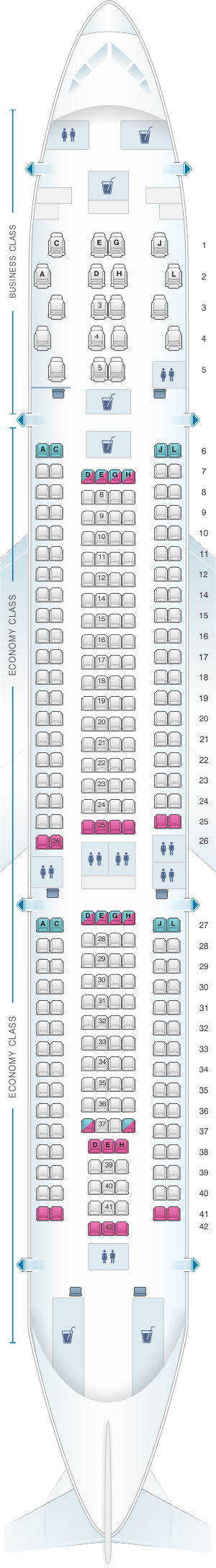 Seat map for Iberia Airbus A330 200