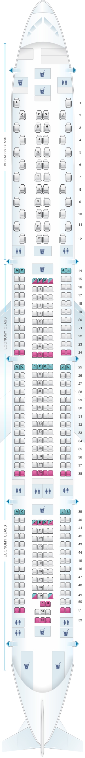 Seat map for Iberia Airbus A340 600 346pax