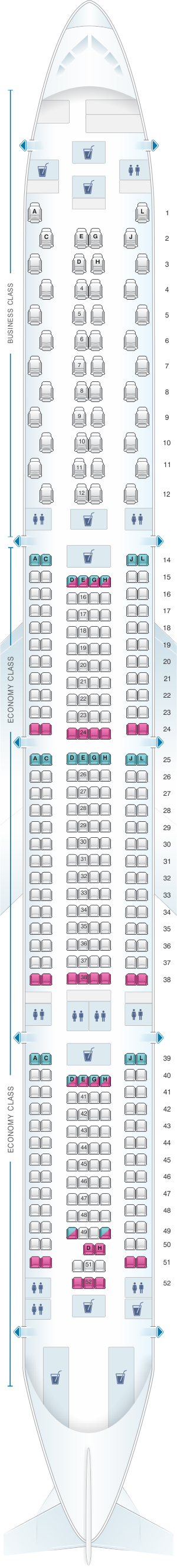 Seat map for Iberia Airbus A340 600 V1