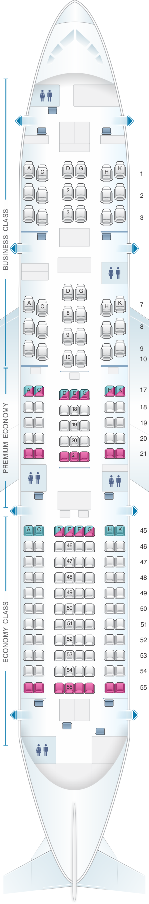 Seat map for Japan Airlines (JAL) Boeing B787-8 E11