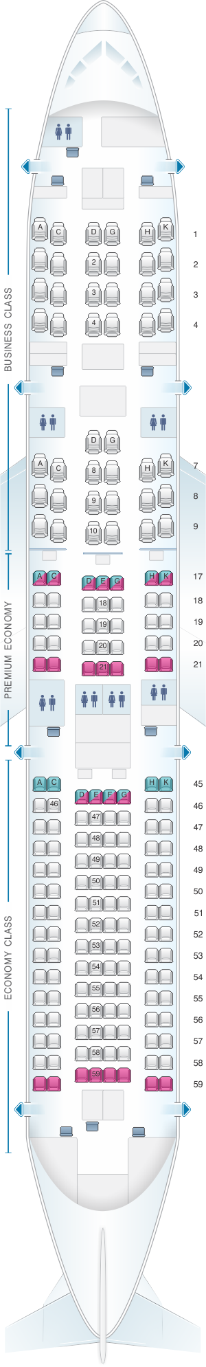 Seat map for Japan Airlines (JAL) Boeing B787-9 E71