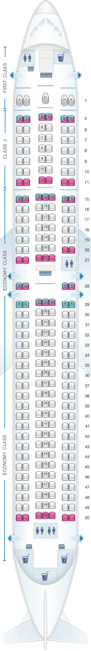 Seat map for Japan Airlines (JAL) Boeing B767 300ER A25