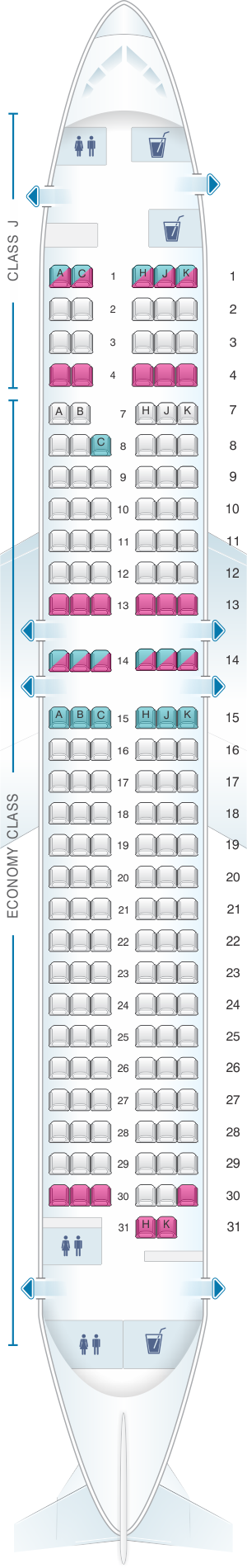 Seat map for Japan Airlines (JAL) Boeing B737 800 V35