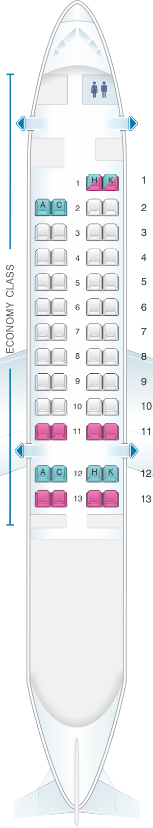 Seat map for Japan Airlines (JAL) DHC8 Q400 Q31