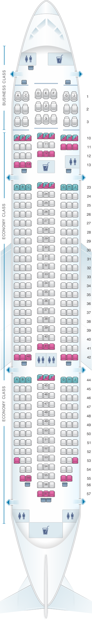 Seat map for Jetstar Airways Boeing 787-8 Dreamliner