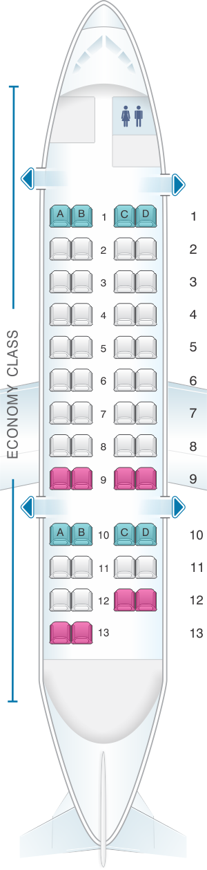 Seat map for Jetstar Airways Bombardier Q300