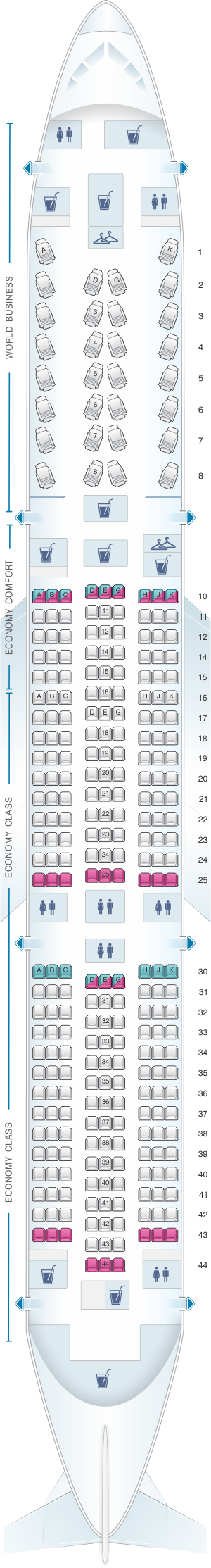 Seat map for KLM Boeing B787-9