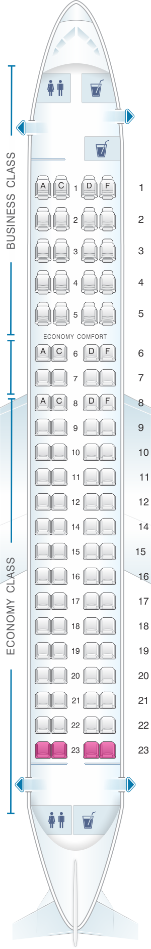 Seat map for KLM Embraer 175