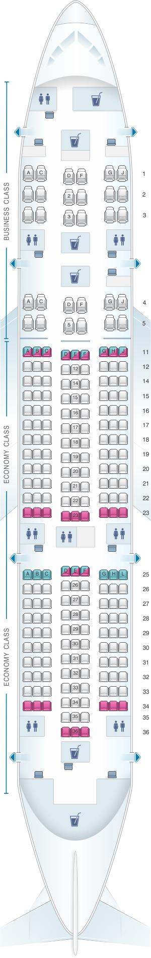Seat map for Kenya Airways Boeing B787-8