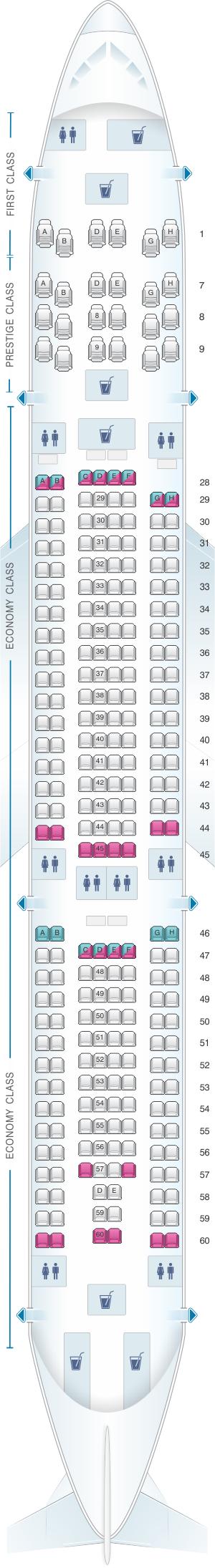 Seat map for Korean Air Airbus A330 300 272PAX