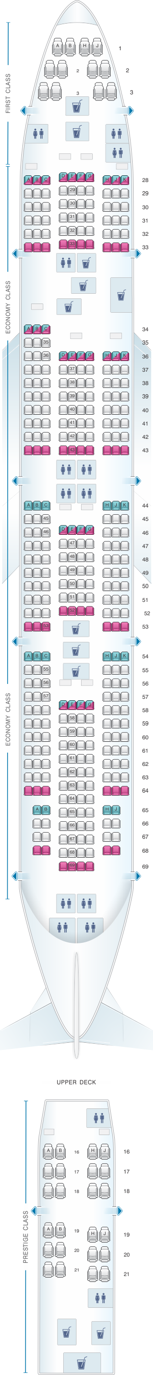 Seat map for Korean Air Boeing B747 400 404PAX