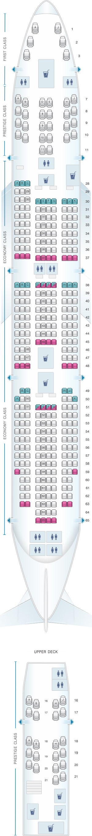 Seat map for Korean Air Boeing B747 400 8i 368PAX