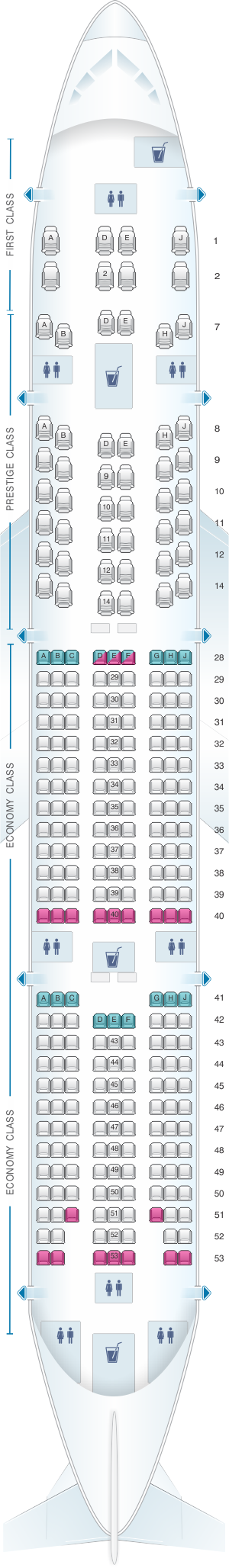 Seat map for Korean Air Boeing B777 300ER 277PAX