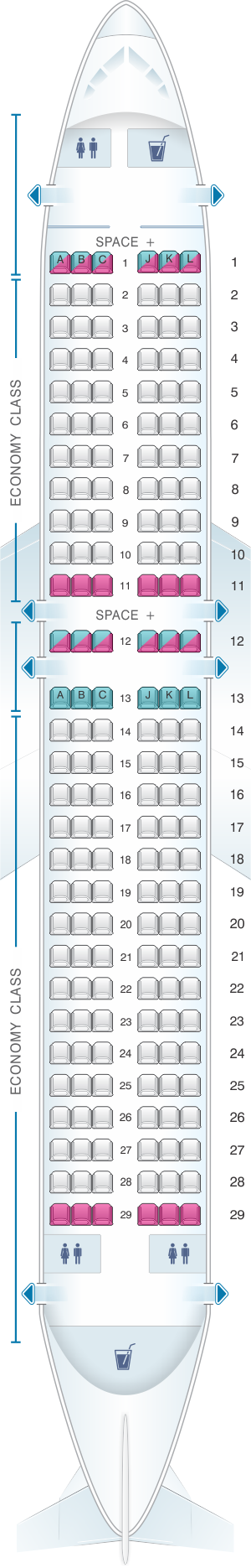 Seat map for LATAM Airlines Airbus A320 200 V1