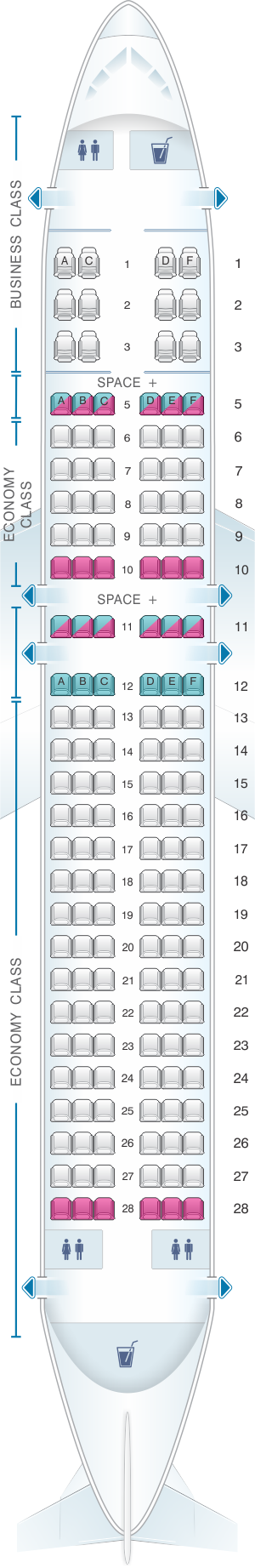 Seat map for LATAM Airlines Brasil Airbus A320 156PAX