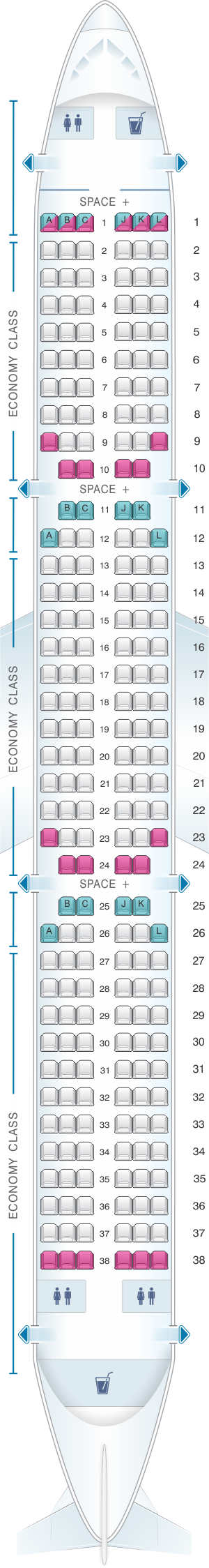 Seat map for LATAM Airlines Airbus A321