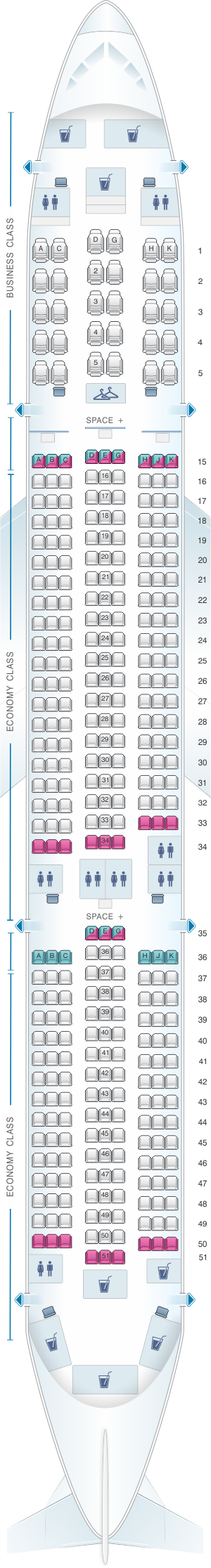 Seat map for LATAM Airlines Brasil Airbus A350